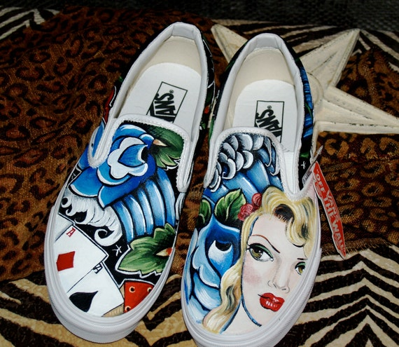 Custom women's or men's Slip on Vans sneakers hand painted ANY size ANY design pin up tattoo