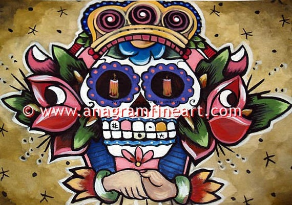 Ltd Edition signed Skull DAY of the DEAD PRINT s\/n