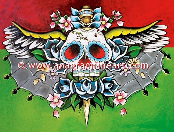 Limited edition DAY OF THE DEAD skull signed PRINT dagger roses