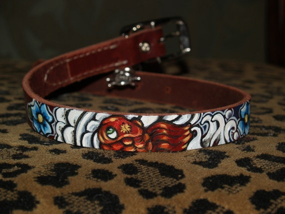 Leather TATTOO Dog Collar Handpainted KOI waves clouds 24 in XL