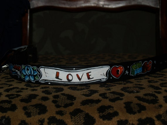 Tattoo Leather dog collar skull dice rose swallow 24 in XL handpainted