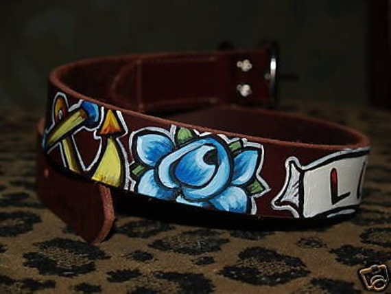 Tattoo leather dog collar LUCKY rose anchor Nautical 14 in small