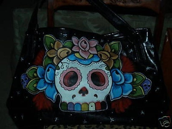 Tattoo Day of the DEAD Purse Skull Oversized LArge handbag diaperbag