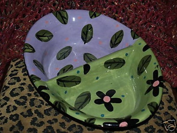 Divided Ceramic doggie dish Handpainted Custom flowers and leaves