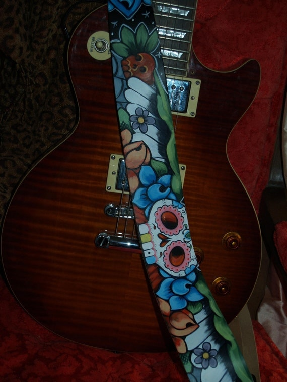 TATTOO leather Guitar STRAP handpainted Day of the Dead skul roses ART