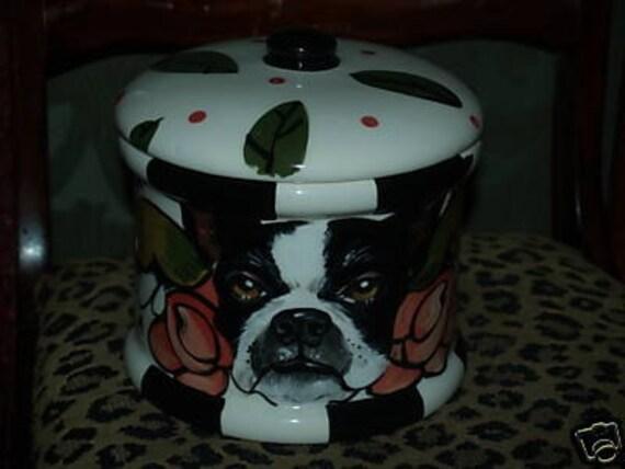 Tattoo Ceramic Doggie treat Cannister COOKIE  JAR custom ANY BREED