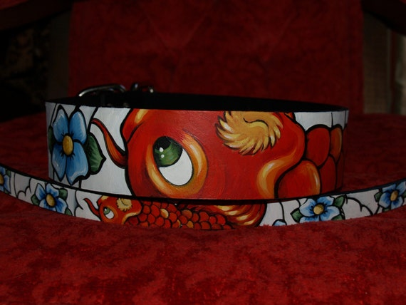 Tattoo leather dog collar 1X and 2 XL KOI 2 inches wide Cane be made for ANY size dog
