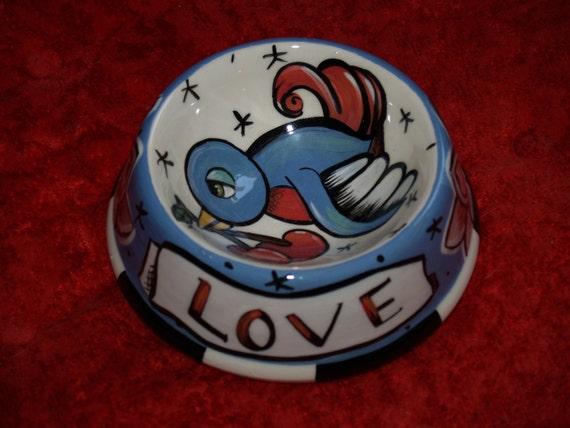 2 Small dog/cat ceramic bowl sparrow with cherries love banner personalized with your pets name