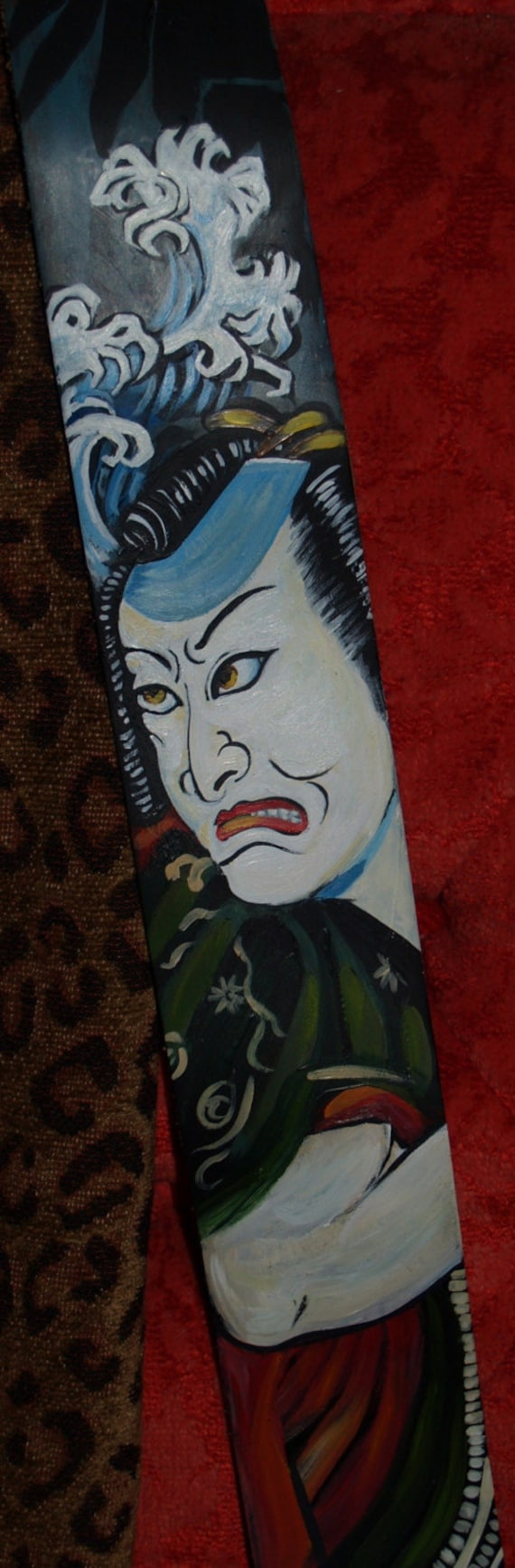 TATTOO leather Guitar STRAP handpainted SAMURAI asian oni design