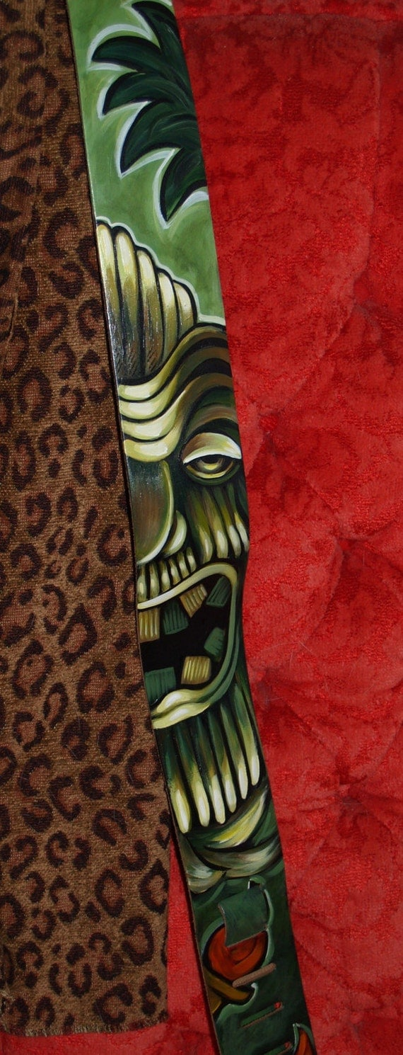 TATTOO leather Guitar STRAP handpainted TIKI totem flames art