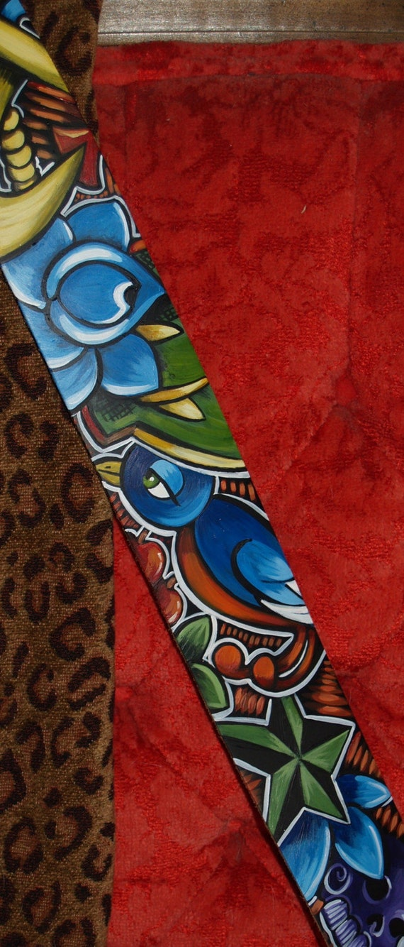 TATTOO leather Guitar STRAP handpainted NAUTICAL anchor star skull roses