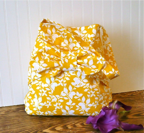 SALE....Yellow Leaves Everday Hobo Bucket Bag with Bow Detail Ready to Ship