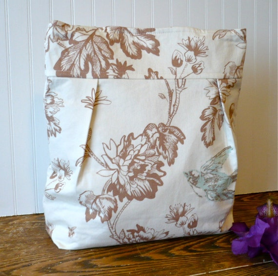 SALE Just for Mother's Day....Extra Large One of a Kind Upcycled Cotton Fabric Tote Bag In Blue Bird Ready to Ship