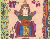 Fairy Print Folk Art Whimsical CHARITY, Fantasy, Fairytale,  Vibrant Colors, Flowers, Magic, Fantasy, Enchanted, Butterflies, Bumble bee