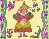 Fairy Print Folk Art Whimsical GOODNESS, fantasy, magic, vibrant colors, fairytale, enchanted, flowers, butterfly, bird, retro, boho