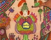 Fairy Print Folk Art Whimsical Sparkle, Fantasy,  Magic, Fairytale, Pixie, Bird, Vibrant Colorful, Butterfly Dragonfly, Flowers, Enchanted
