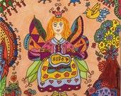 Fairy Folk Art Print Whimsical HOPE, Fantasy, Magic, Enchanted, Pixie, Fairytale, Flowers, Vibrant Colorful, Bunny, Flowers, Kitty Cat, Bird