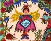 Fairy Print Folk Art Whimsical ASPIRE, Bird, Enchanted, Fairytale, Vibrant Colors, Pixie, Fantasy, Magic, Hedgehog, Flowers
