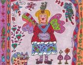 Fairy Print Folk Art HUMOR Whimsial, Fantasy, Retro, Magic, Enchanted, Vibrant, Colorful, Kitty Cat, Butterfly, Flowers, Mushrooms, Hearts