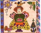 Fairy Print Folk Art Whimsical of UNITY, Fantasy, Fairytale, Magic, Enchanted, Bird, Flowers, Vibrant, Colorful, Gypsy, Hen