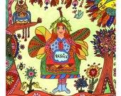 Fairy Folk Art Print REJOICE, Whimsical, Enchanted, Fantasy, Fairytale, Magic, Vibrant, Colorful, Owl, Bumble Bee, Flowers, Pixie, Bird