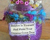 "Fairy Altered Art Mixed Media ""Believe In Yourself"", OOAK, Assemblage, Outsider Art, Collage,  Fantasy, Fairytale, Sparkle, Magic"