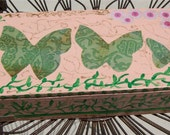 THREE BUTTERFLIES Collaged Painted Box