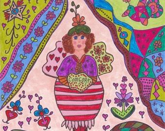 Fairy Print Folk Art Whimsical COMFORT, Magic, Enchanted, Fantasy, Fairytale, Flowers, Vibrant Colors, Bird, Pixie