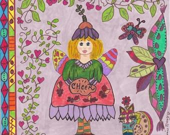 Fairy Print Folk Art Whimsical CHEER, pixie, fantasy, fairytale, magic, enchanted, flowers, butterfly, cat, hearts, kitty, vibrant colors