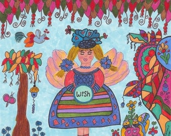 Fairy Print WISH Whimsical Folk Art, Fantasy, Fairytale, Enchanted, Magic, Vibrant Colorful, Pixie, Flowers, Kitty Cat, Bird