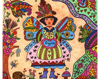 Fairy Print Folk Art Whimsical GIGGLES,  Vibrant Colorful, fantasy, magic, fairytale, enchanted, flowers, bird, butterfly, retro