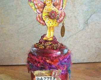Fairy OOAK, DAZZLE, Assemblage, Altered Art, Mixed Media, Collage, Outsider Art, magic, fantasy, fairytale, enchanted, 3d
