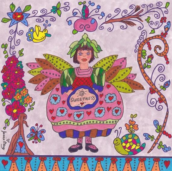 Fairy Print Folk Art Whimsical SWEETNESS, Fairytale, Fantasy, Magic, Enchanted, Vibrant, Colorful, Birds, Flowers, Snail, Butterfly