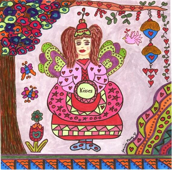 Fairy KISSES Art Print, Whimsical, Enchanted, Fantasy, Folkart, Fairytale, Vibrant, Colorful, Butterflies, Bird House, Flowers, Magic, Pixie