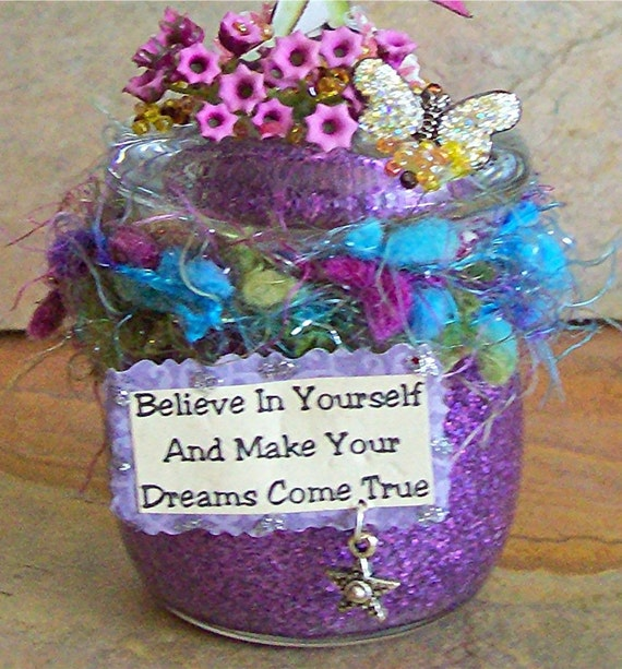 """Fairy Altered Art Mixed Media """"Believe In Yourself"""", OOAK, Assemblage, Outsider Art, Collage,  Fantasy, Fairytale, Sparkle, Magic"""