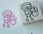 bill with cherry soda - rubber stamp