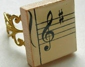 Vintage Music Treble Clef Sharp Chic Scrabble Tile Filigree Ring Adjustable Stave Staff