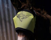 Fly Mask Small Green with black swallow design