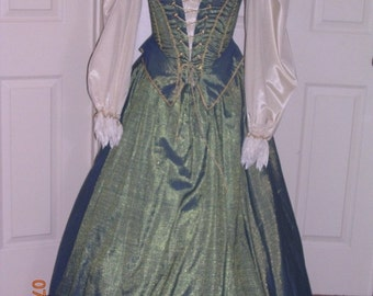 Blue and gold Renaissance Gown  Costume Ren Fest costume full costume elaborate costume Medieval costume corset and skirt cosplay