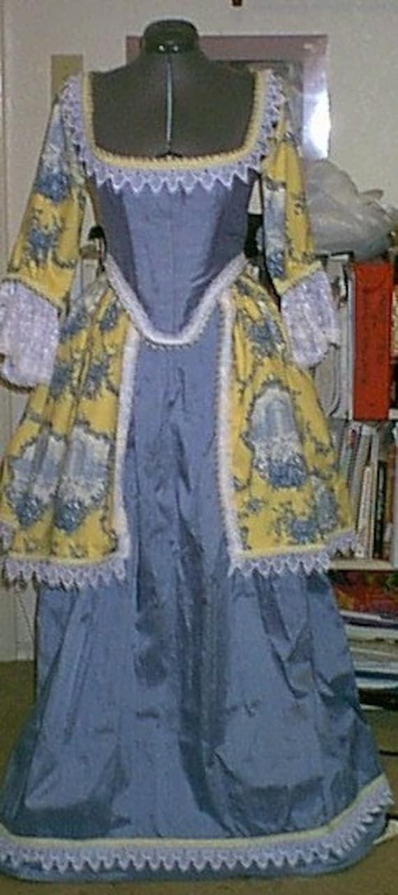 revesible Restoration Gown  Ren Fest costume Medieval costume Dupioni silk costume blue and yellow costume  ladies costume cosplay