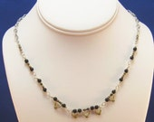 Electronic Elegance - Earrings and Necklace - Green Resistor -  Black Beads - Chain