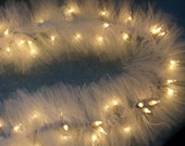 Ivory TULLE netting on mini string LIGHTS SWAG garland