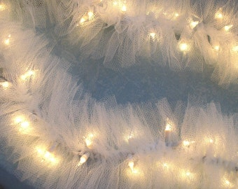 Wedding Lighted Swag Garland White TULLE on STRING LIGHTS, wedding or home, electric lights can be plugged into two more strands