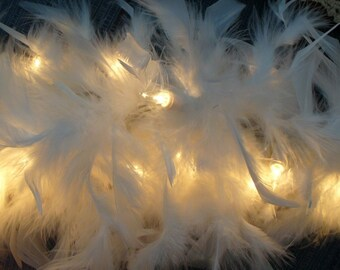 WHITE FEATHER Lighted SWAG Garland 9 feet long ~ Romantic Shabby ~ Wedding