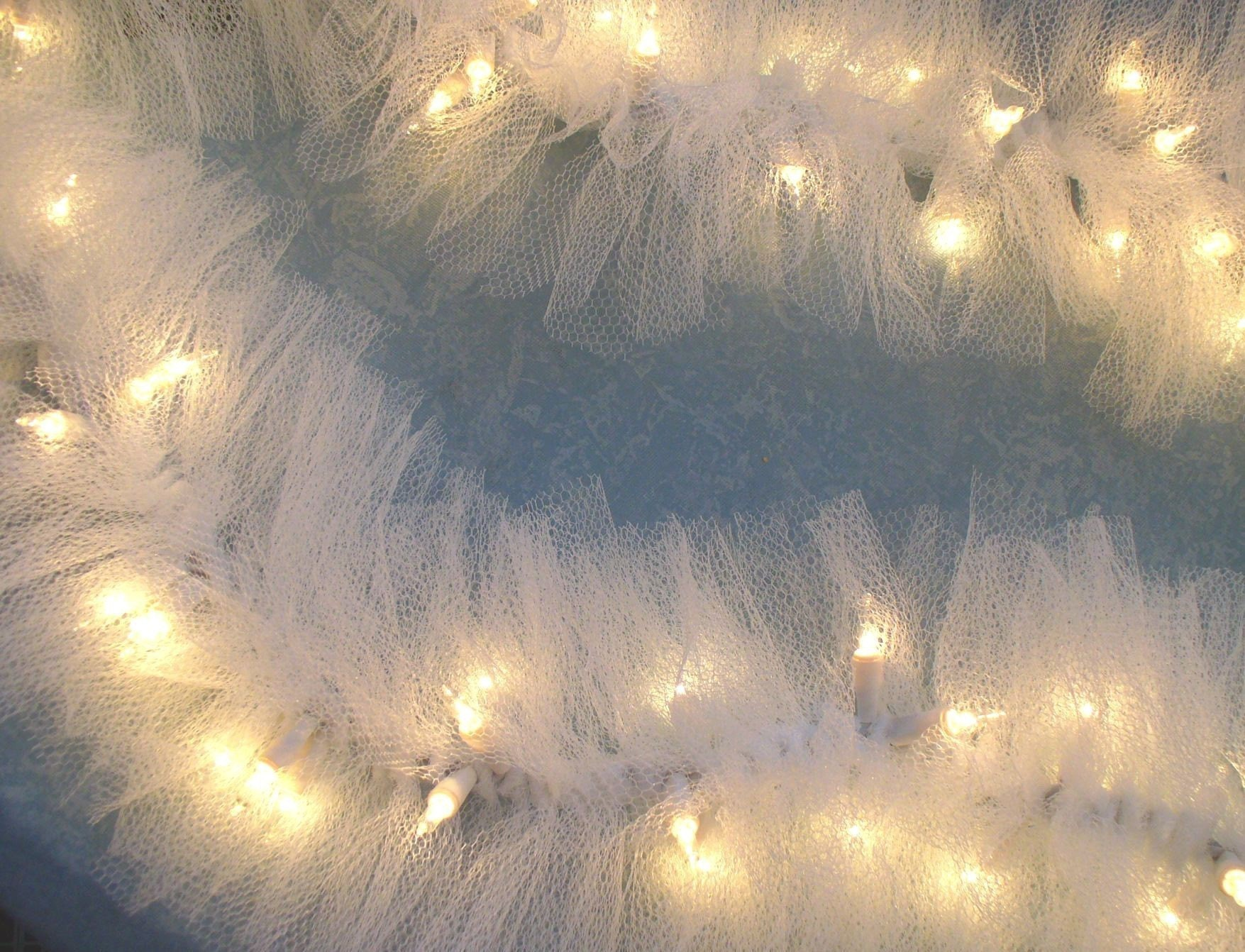 Wedding Lighted Swvag Garland White TULLE on STRING LIGHTS