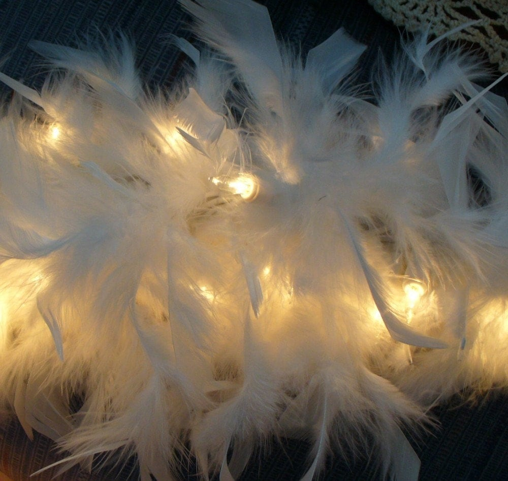 White Feather Lighted Swag Garland 9 Feet Long Romantic