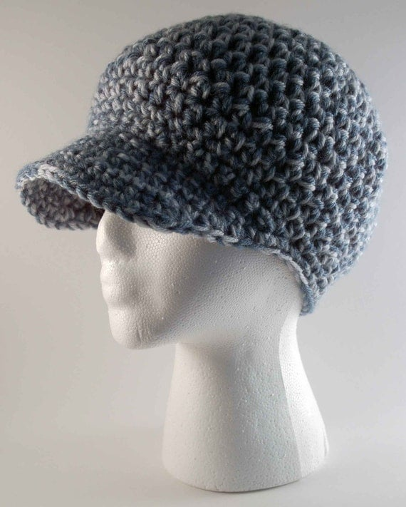 Crochet Chunky Newsboy Style Ladies Hat Silver Blue and Dusty