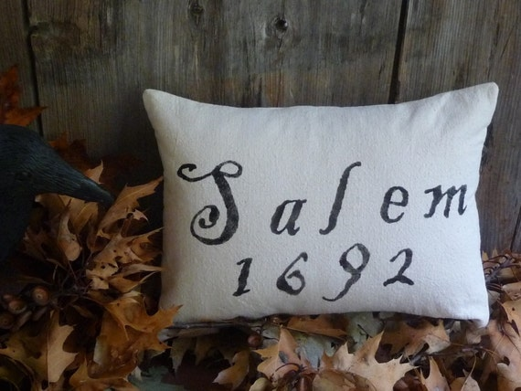 Olde Salem Village Cotton Pillow for Halloween or Primitive Display