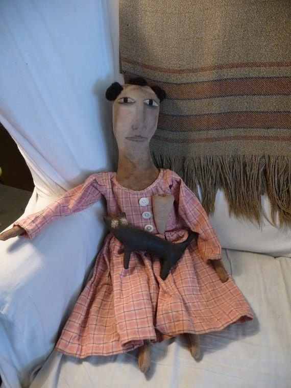Handmade Primitive Folk Art Doll Louisa In Homespun With Cat