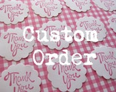CUSTOM ORDER for krinercreations - 100 Round Scallop Edge Pink THANK YOU Stickers